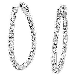 14K White Gold 1.95 Ct. Diamond Hoop Earrings