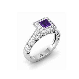 14K White Gold Purple Stone/ Natural diamonds Ring