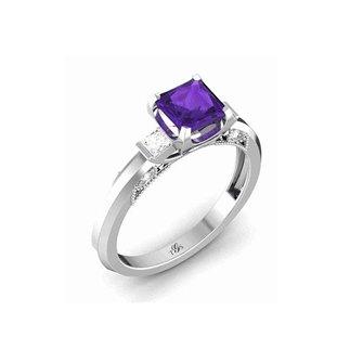 14k White /Yellow / Rose Gold Purple Stone Natural Diamonds Ring