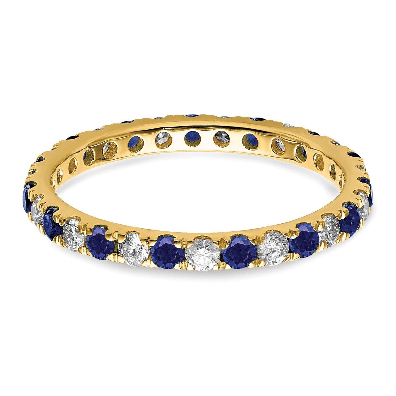 14k Lab Grown Diamond SI1/SI2 G H I and Created Blue Sapphire Eternity Band-3