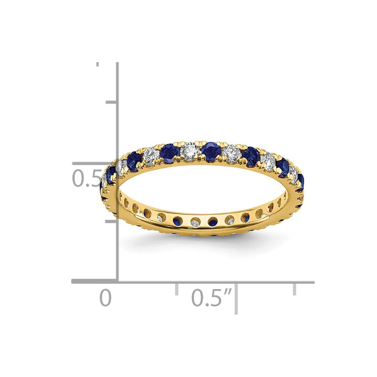 14k Lab Grown Diamond SI1/SI2 G H I and Created Blue Sapphire Eternity Band-2