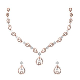 14K White and Rose Gold 3.025 ct. Diamond Necklace / 1.276 ct. Earring Set