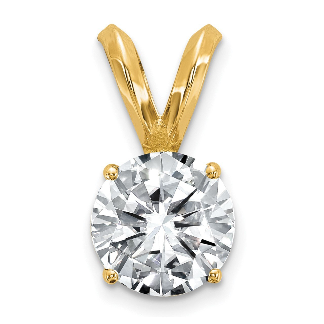 14ky 1/2ct. 5.0mm Round Moissanite Solitaire Pendant