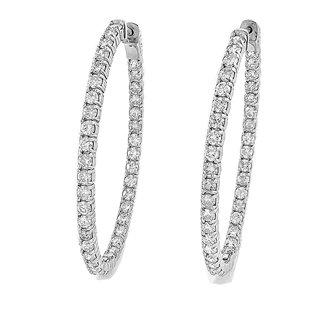 14K White Gold 3.92 Ct. Diamond Hoop Earrings