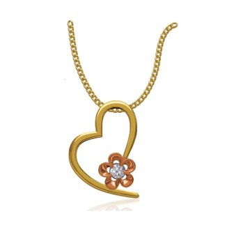 14k Two Tone 0.06 Ct. Diamond Pendant Heart Shape with Flower