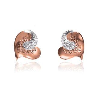 14 K Rose / White Gold Natural 0.30 Ct. Diamond Heart Earring Broad 13.5 mm Gifts for Women Girls