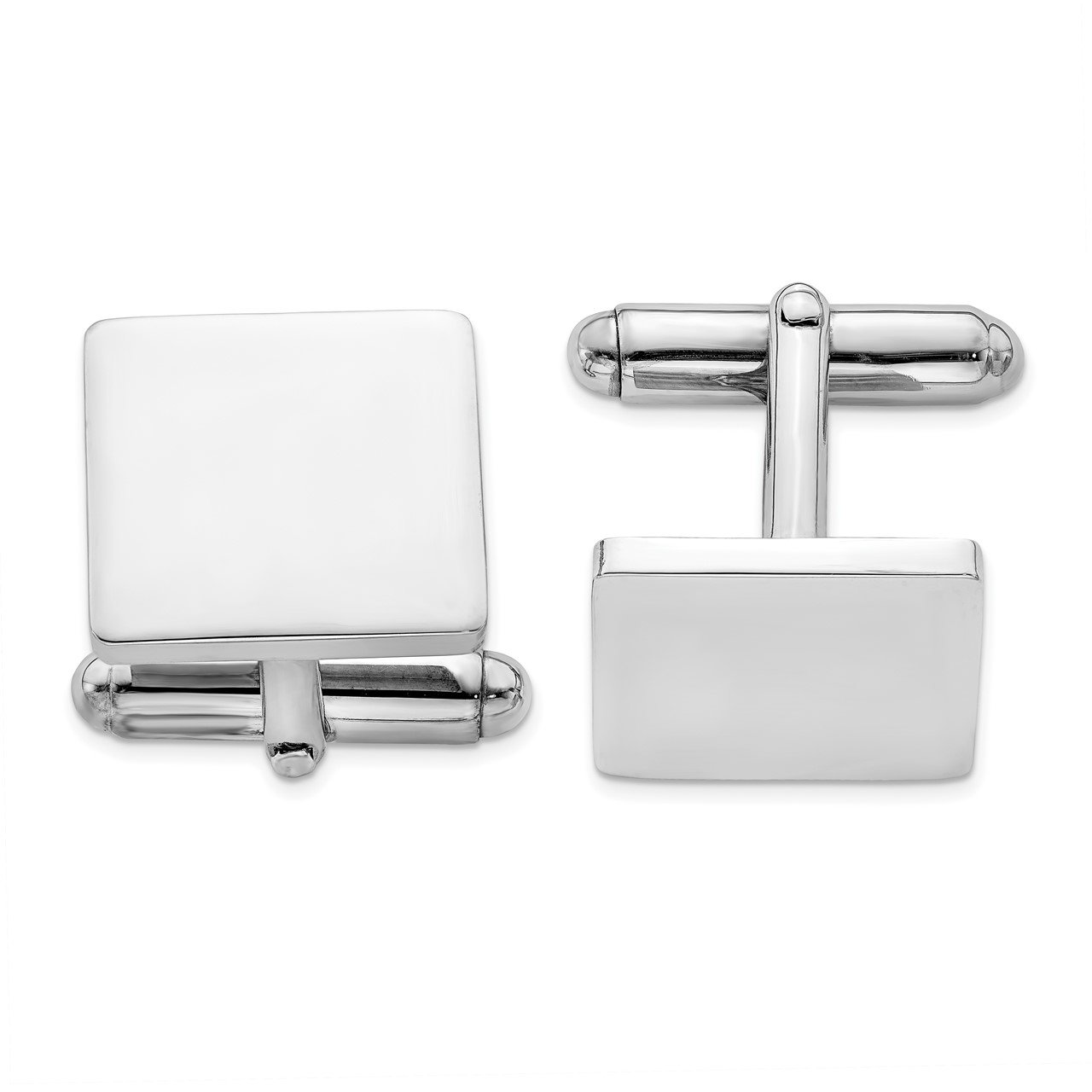 Sterling Silver Rhodium Plated Square Cuff Links