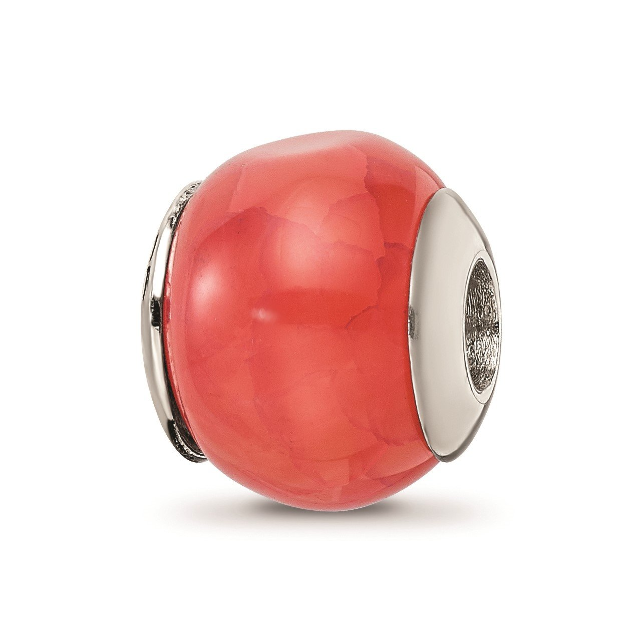 Sterling Silver Reflections Orange Cracked Agate Stone Bead