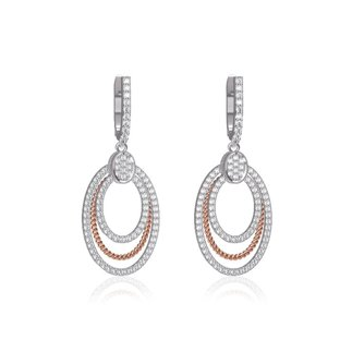 14K Two Tone Gold Natural 1.69 Ct. Diamond Oval Dangle Earrings