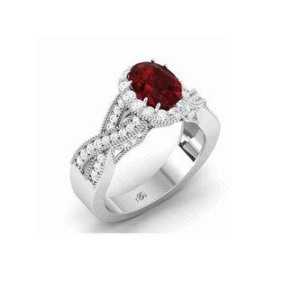 14K White / Yellow / Rose Gold Red Stone Natural Diamonds Ring