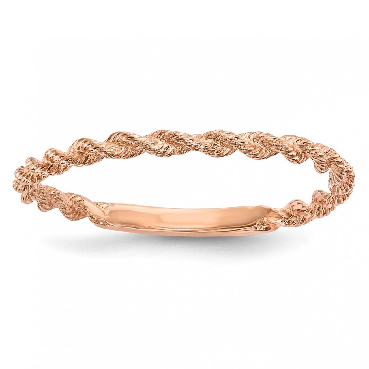 14k Rose Gold Polished Twisted Rope Ring