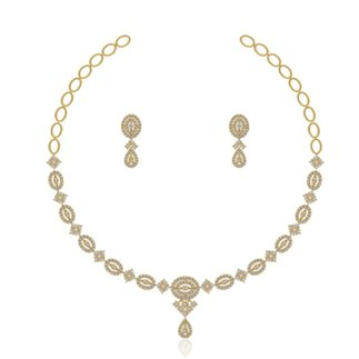 14K Yellow Gold 3.502 ct. Natural Diamond Necklace / 0.806 ct. Earring