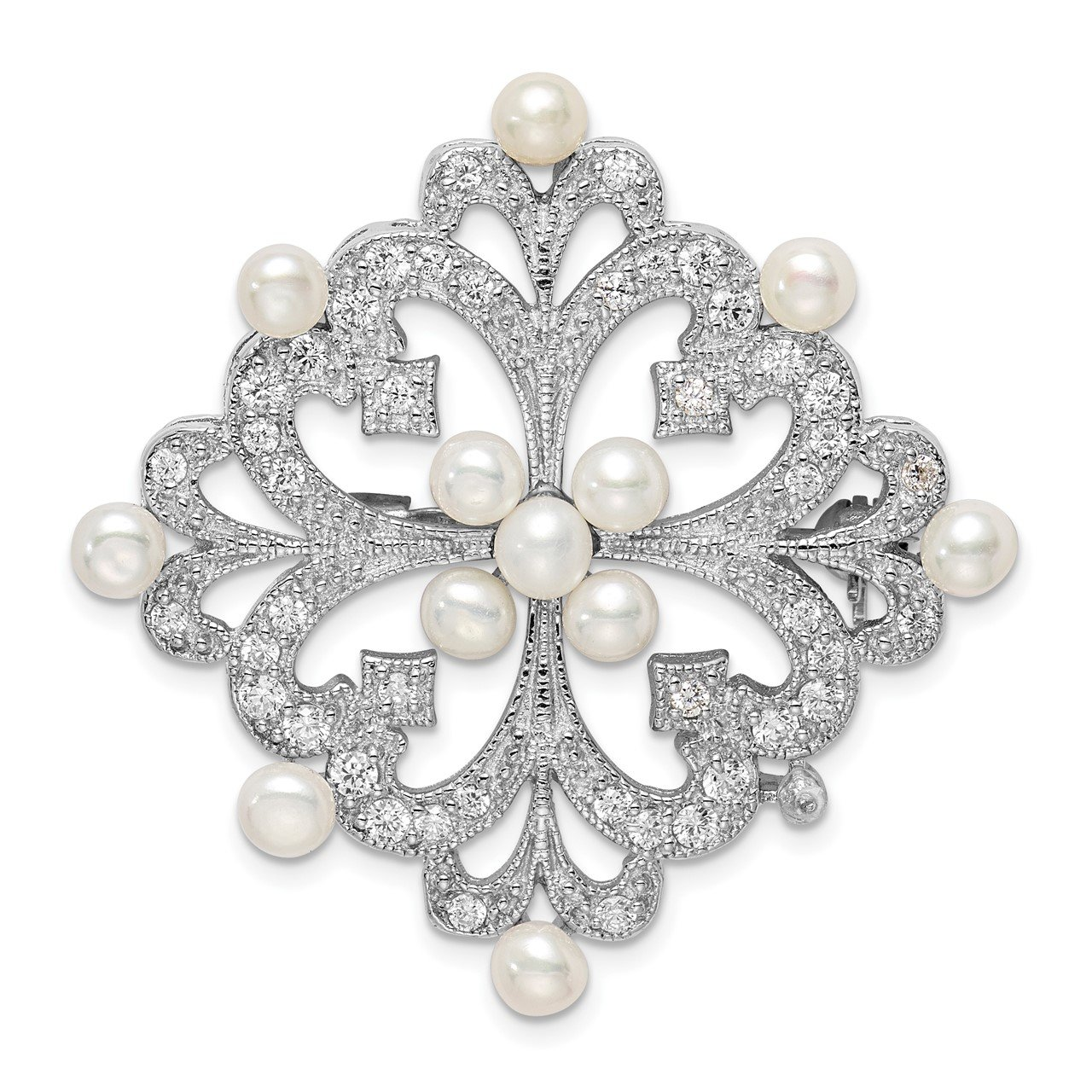 Sterling Silver Rhodium-plated FW Cultured Pearl and CZ Pin