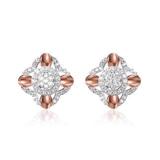 14 k Rose / White Gold 0.586 Ct. Diamond Earrings