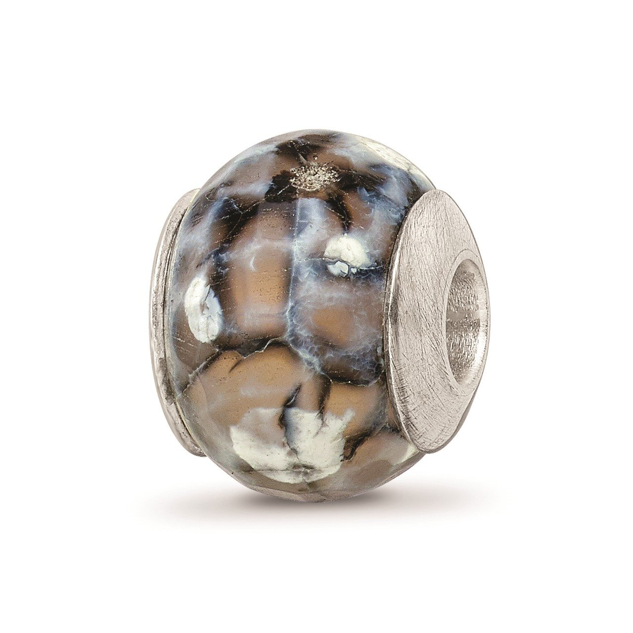 Sterling Silver Reflections Grey Cracked Agate with Shell Stone Bead