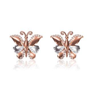 14 k Rose / White Gold Natural 0.360 Ct. Diamond Butterfly Earrings Broad 14.5 mm Gift for Women Girls
