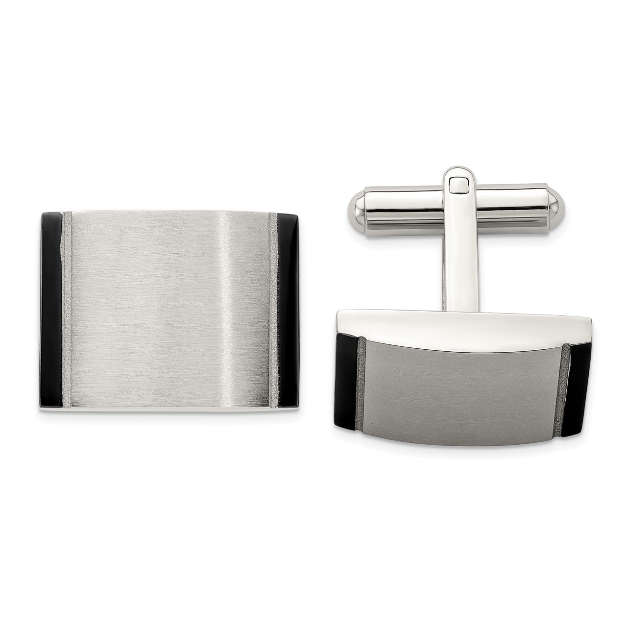 Stainless Steel Black Acrylic Cufflinks