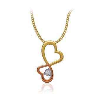 14k Two Tone  Gold 0.06 Ct. Diamond Pendant Double Heart Shape