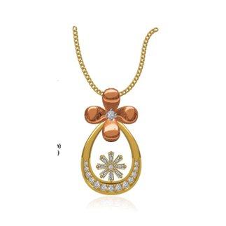 14k Yellow/Rose Gold 0.155 Ct. Diamond Pendant