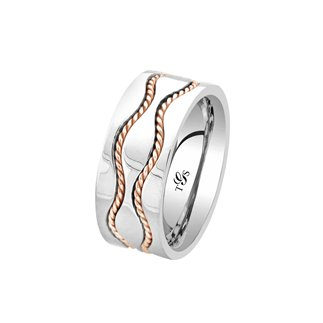 14K Two Tone Gold Band Rings for Women Men