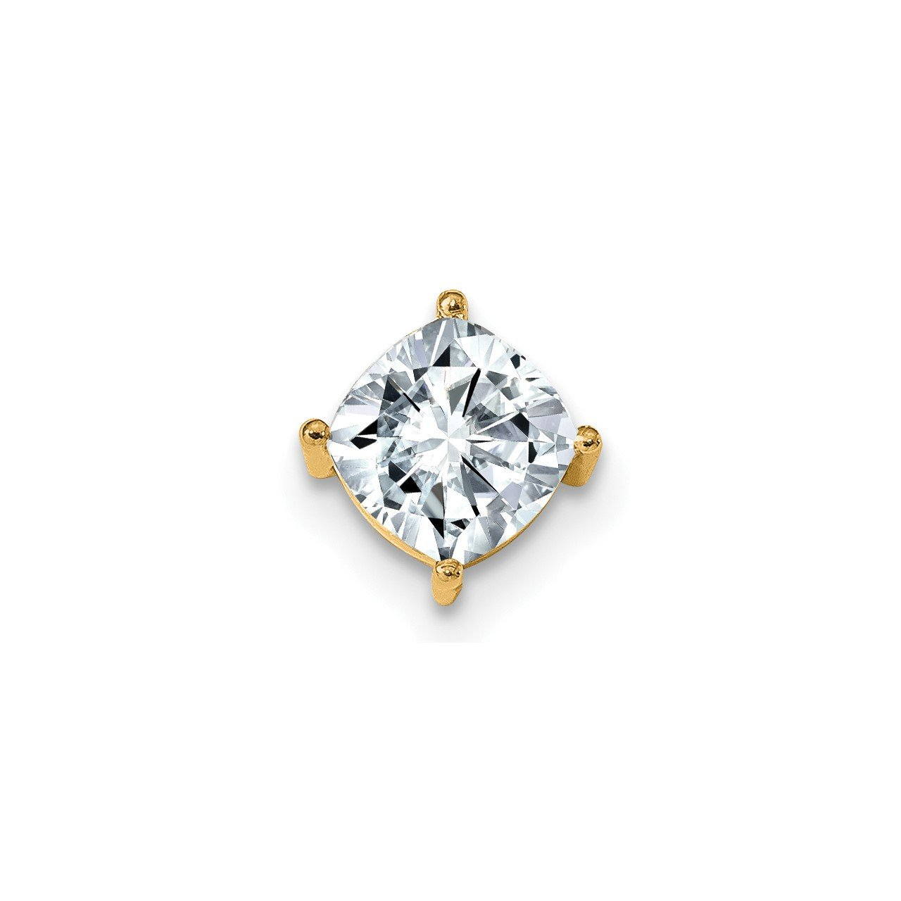 14ky 2.00ct. 7.50mm Cushion Colorless Moissanite Chain Slide Pendant