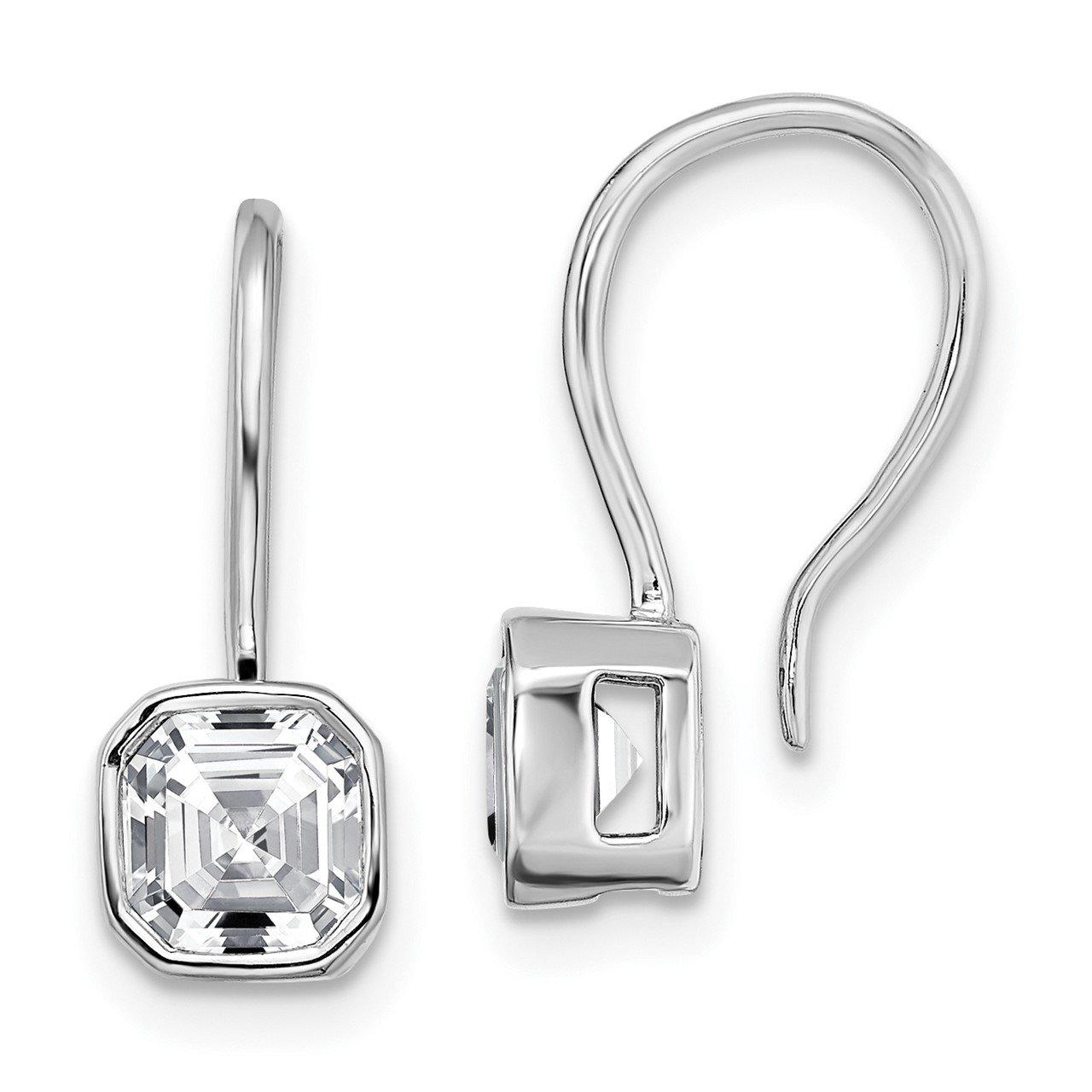 14k White Gold Asscher Bezel Dangle Earring G H I True Light Moissanite