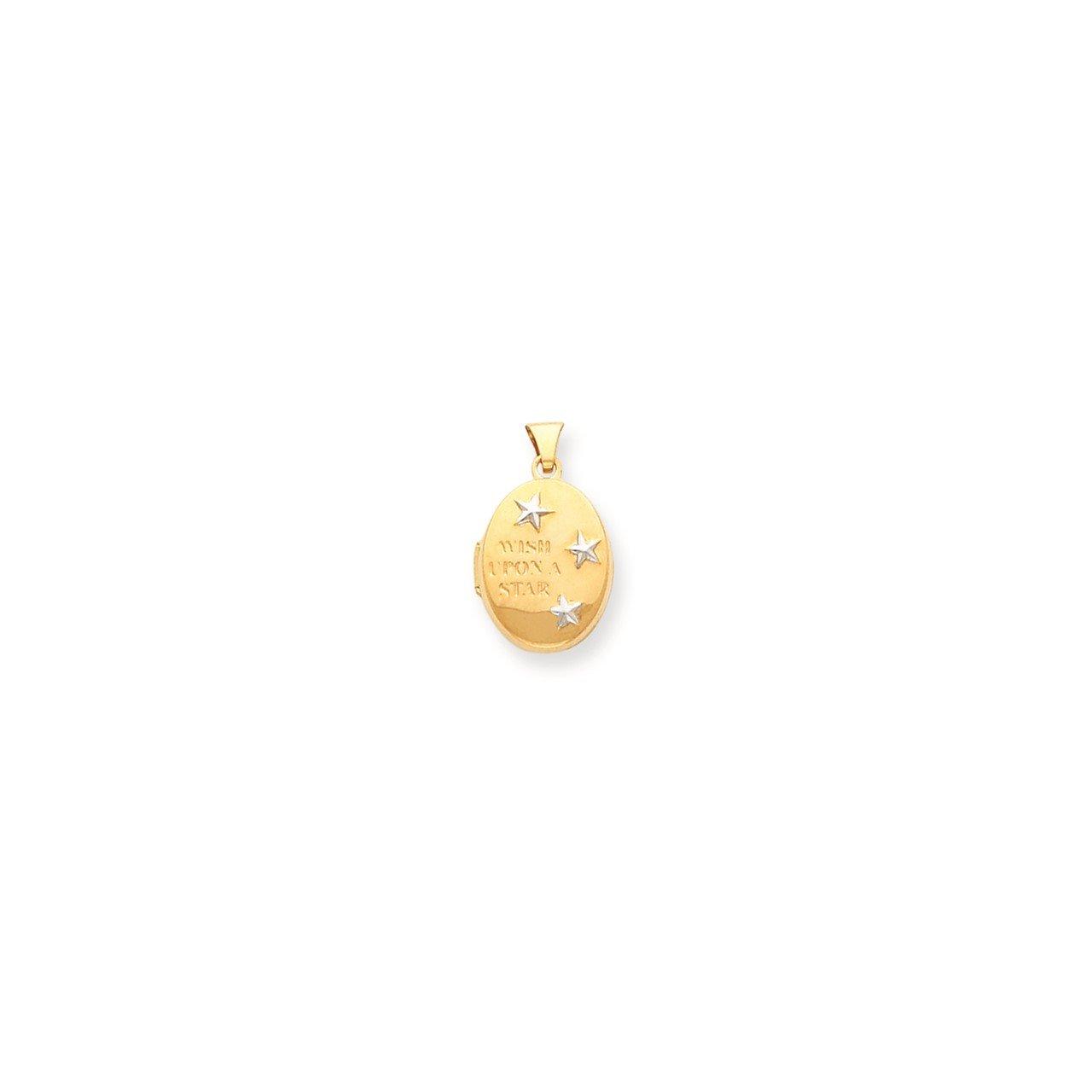 14k Rhodium Wish Upon a Star Oval Locket Necklace