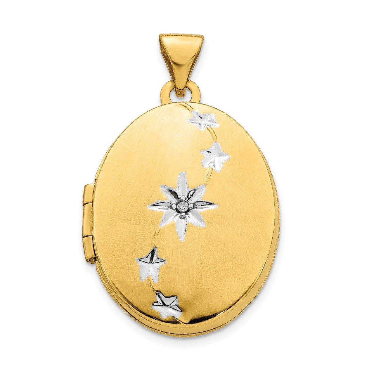 14K Yellow Gold and White Rhodium Brushed/Polished Diamond Stars Oval Locket