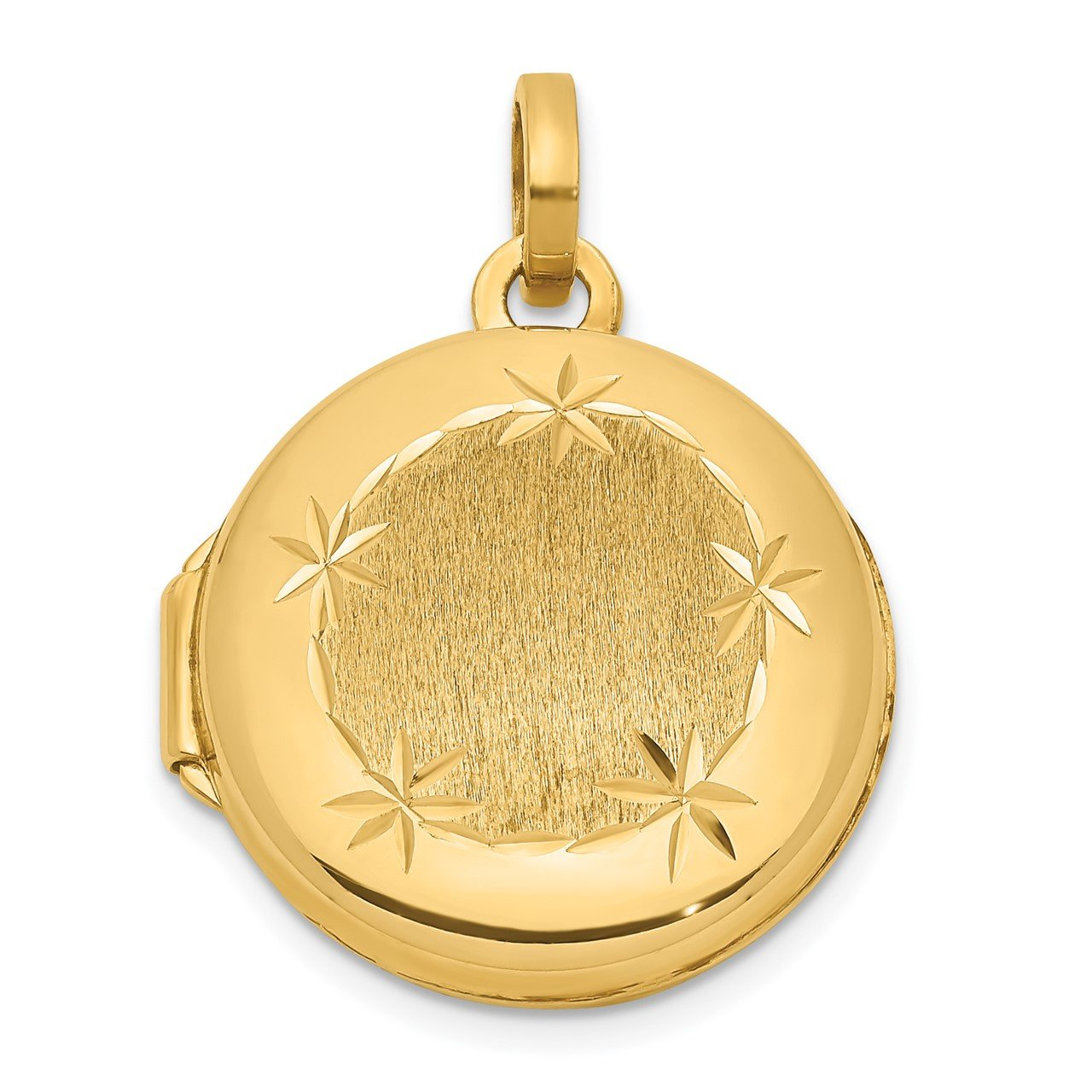 14K Polished and Satin 16mm D/C Round Locket