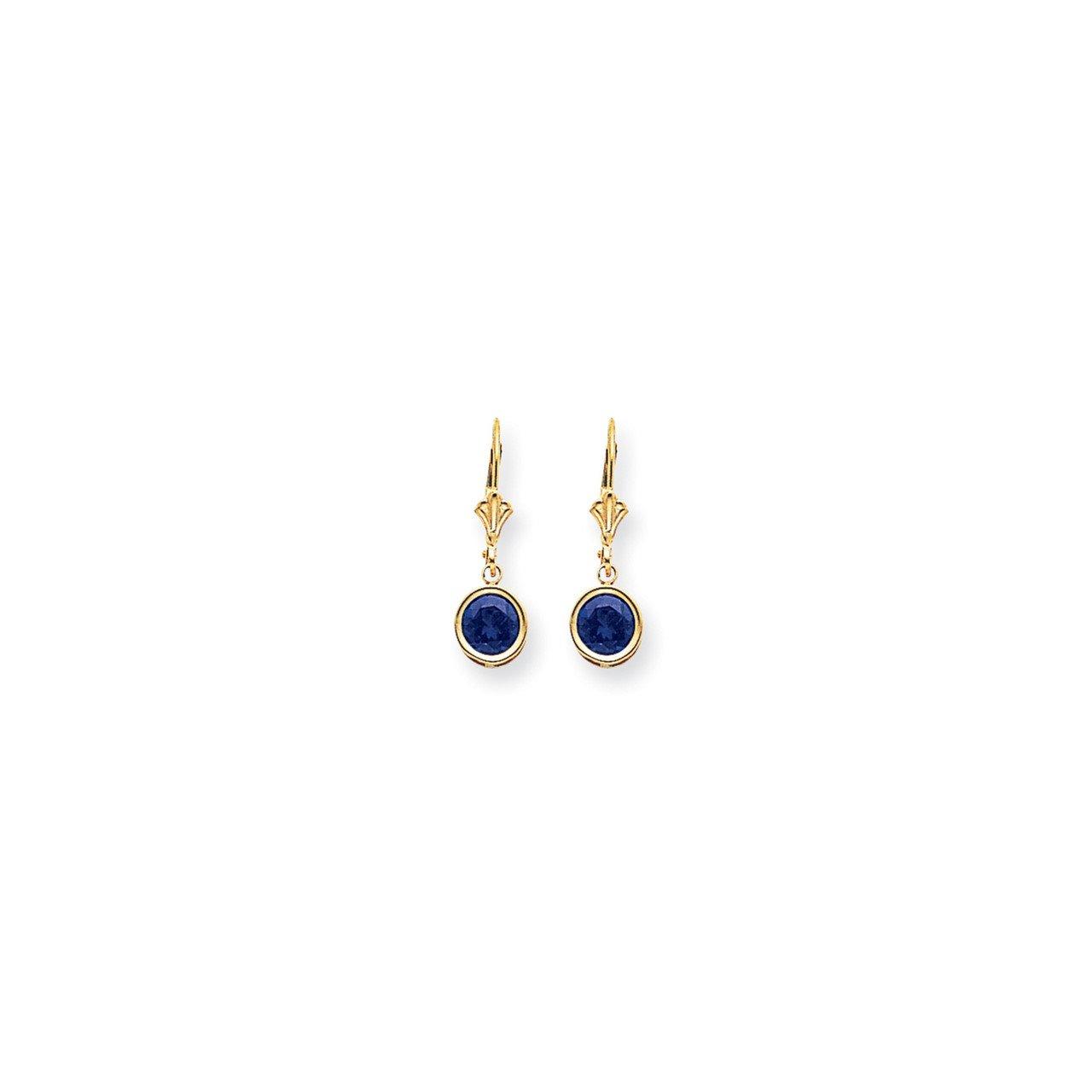 14k 6mm Sapphire leverback earring