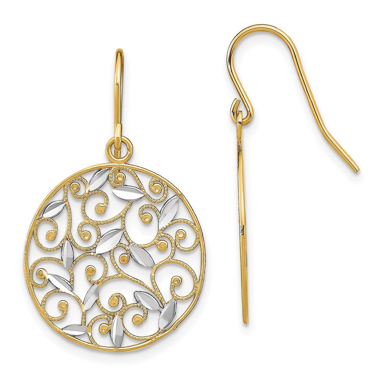 14K with Rhodium Fancy D/C Dangle Wire Earrings