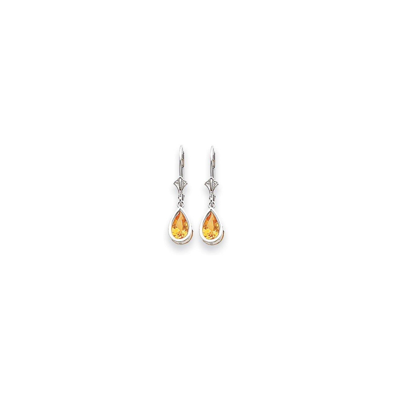 14k White Gold 8x5mm Pear Citrine Checker leverback earring