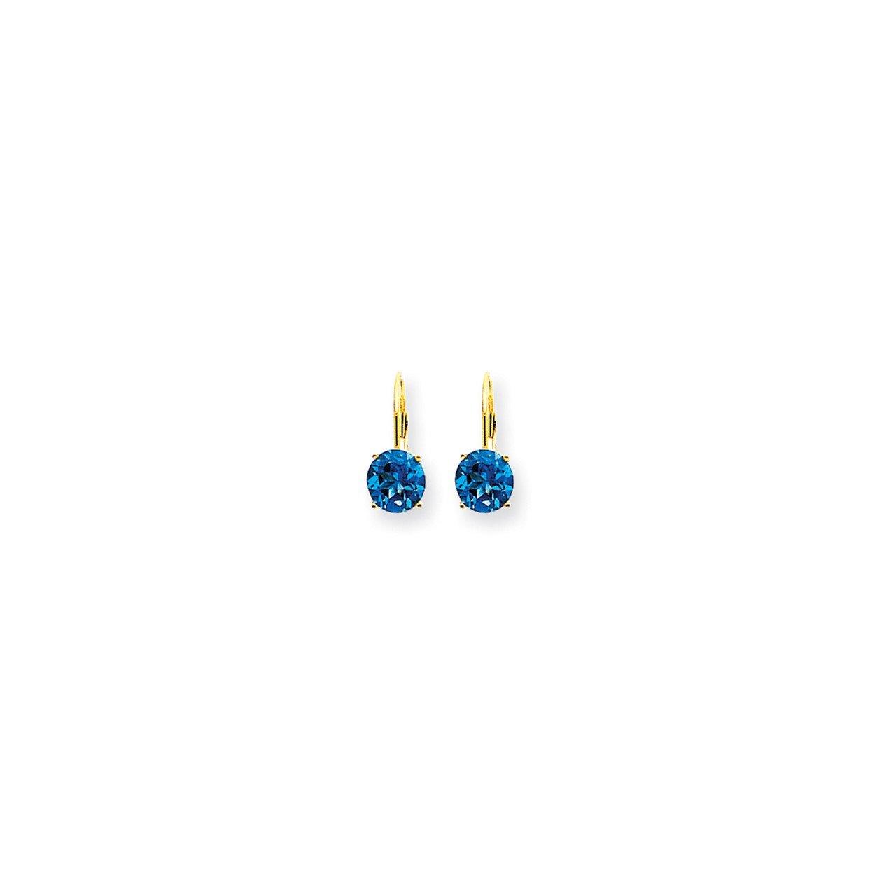 14k 7mm Blue Topaz Checker leverback earring