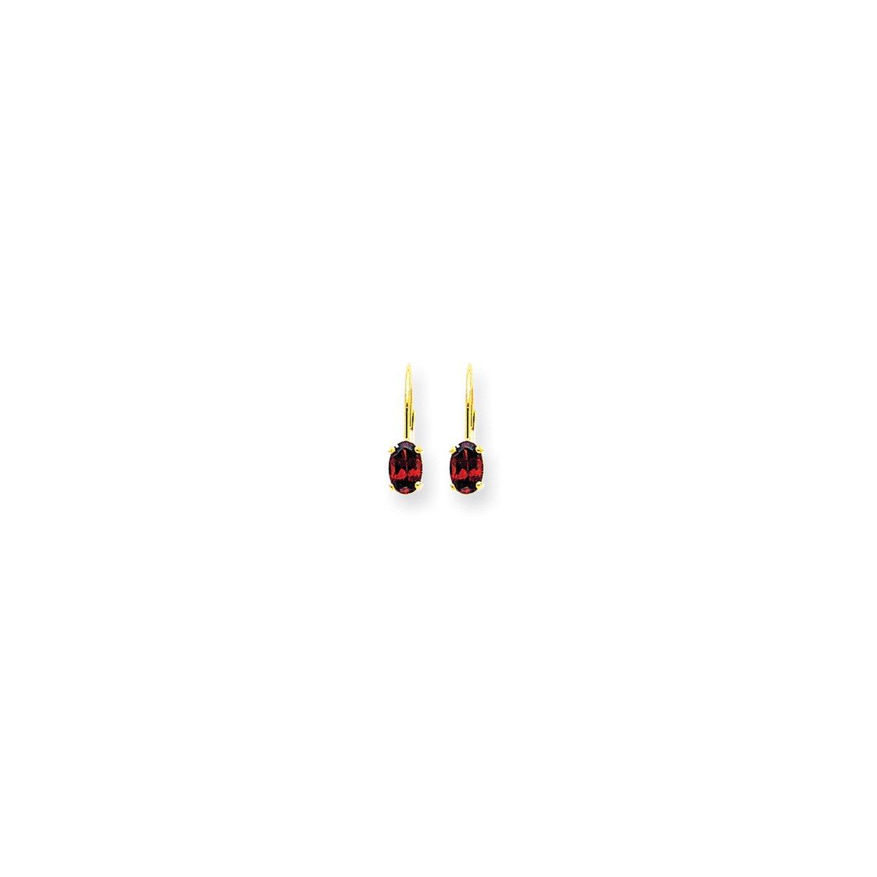 14k 6x4mm Oval Garnet Checker leverback earring