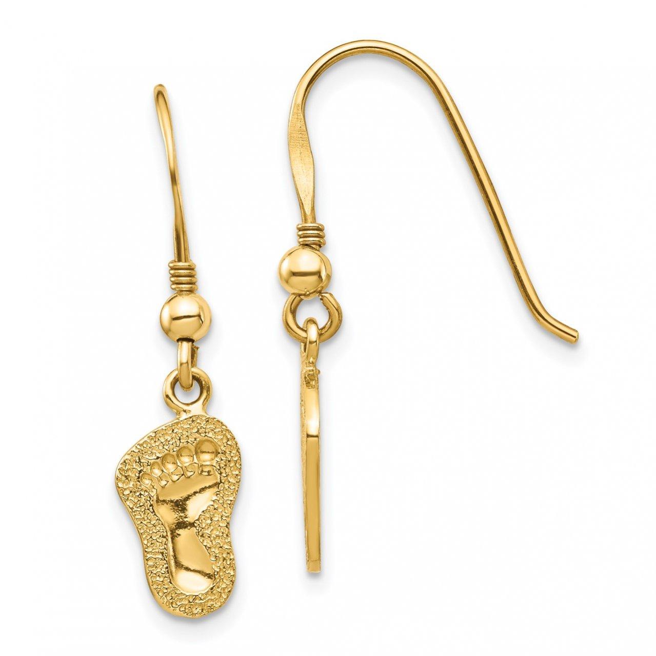 14K Footprints Shepherd Hook Earrings