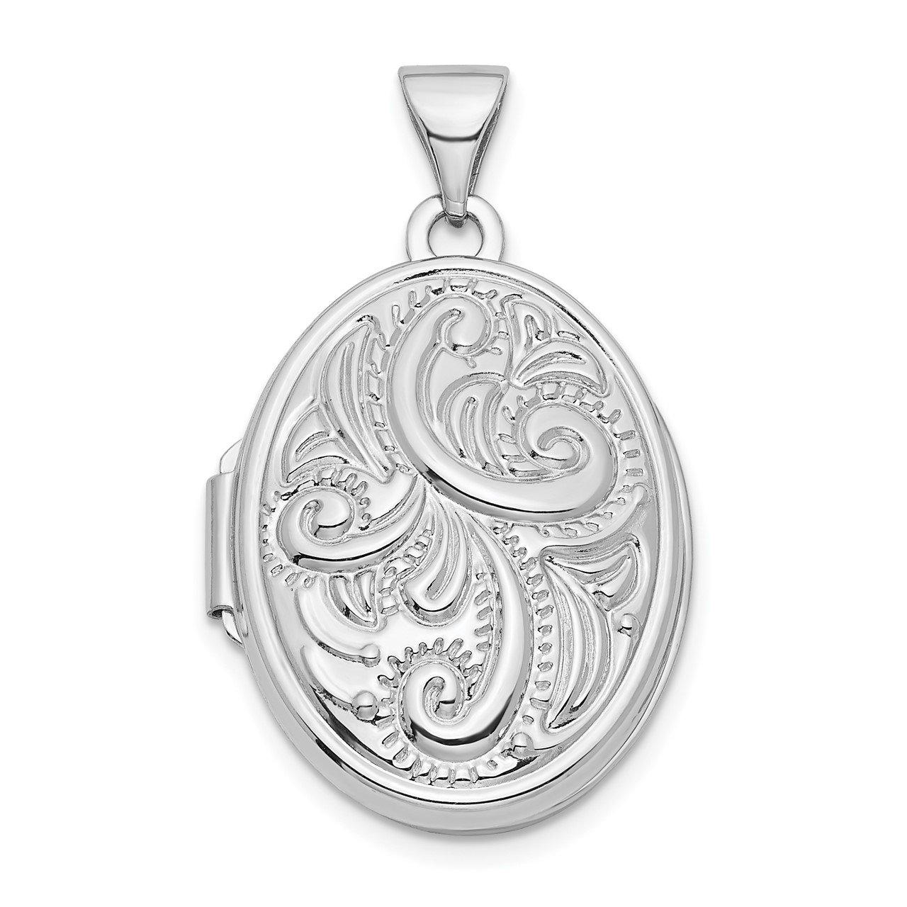 14k White Gold Swirl Design 21mm Oval Locket