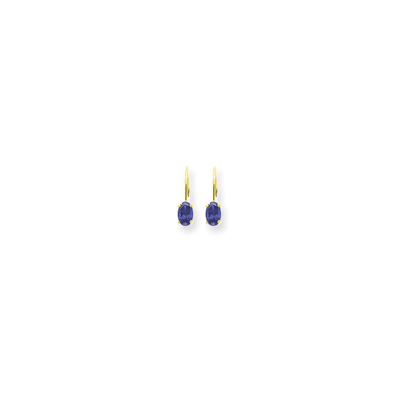 14k 6x4mm Oval Tanzanite leverback earring
