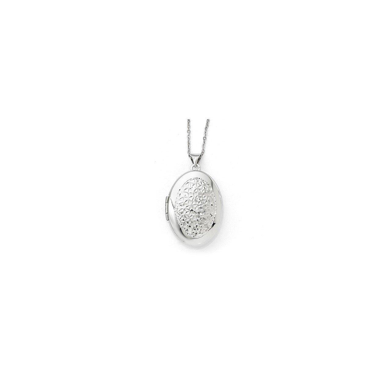 Leslie's 14k White Gold Polished D/C Oval Locket Pendant