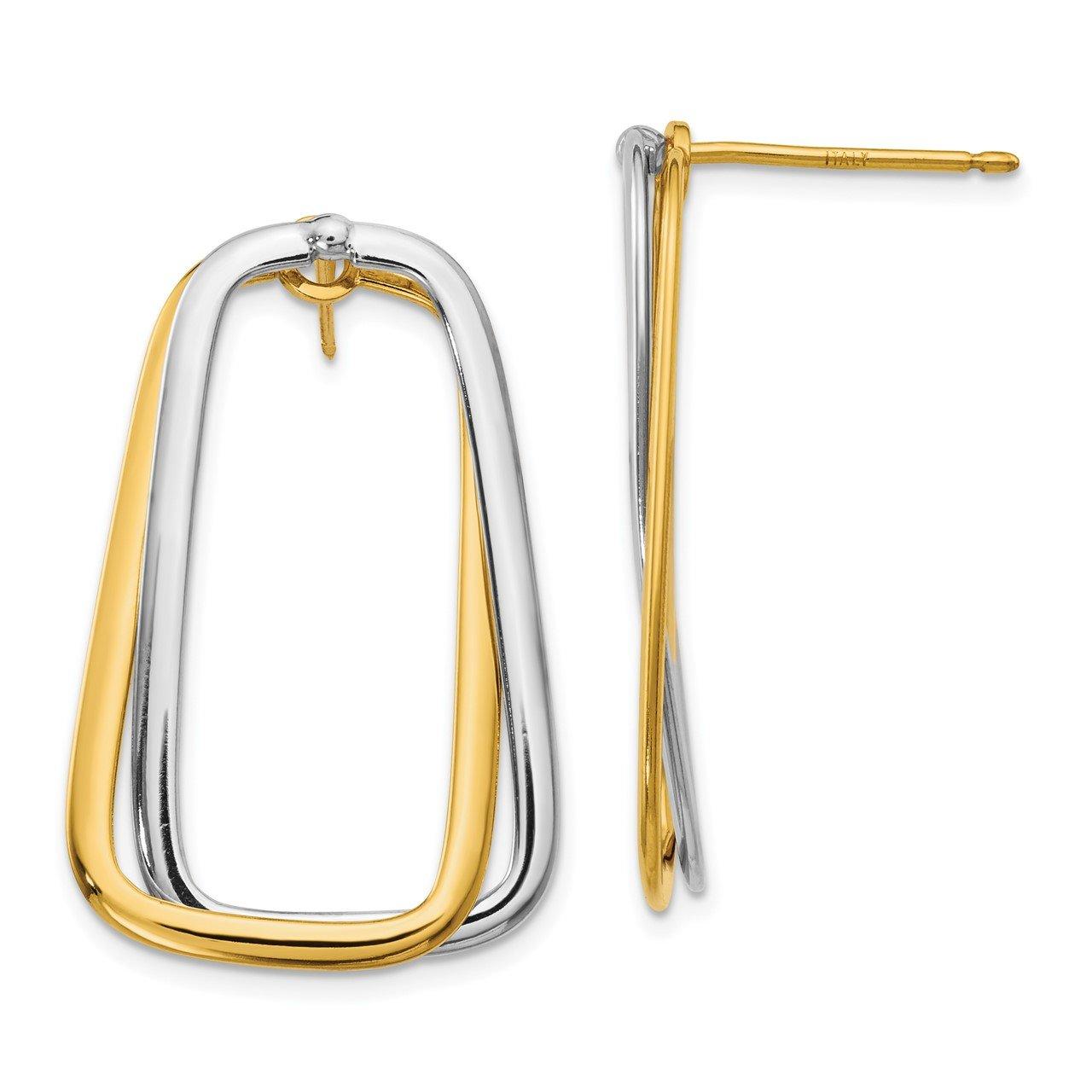 14k Two-Tone Fancy Versatile Lrg Rectangle Post Earrings