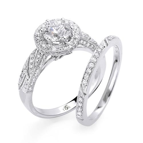 14K White Gold Diamond Wedding Band Set