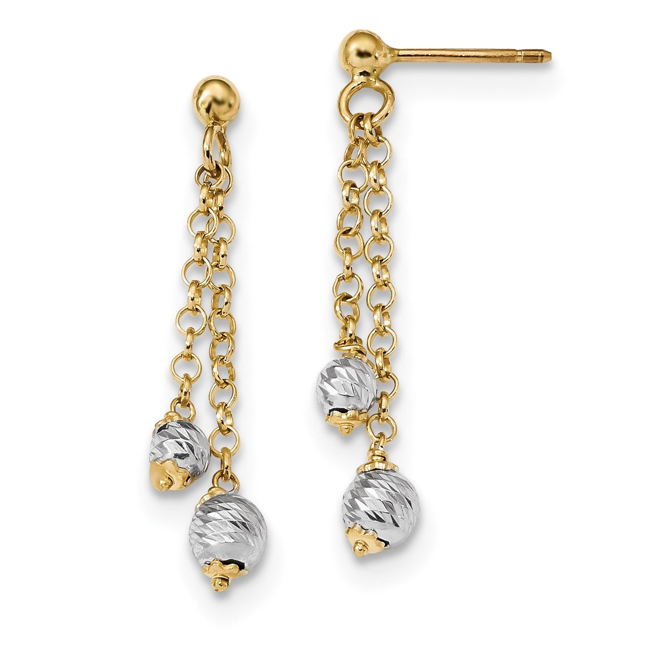 14k Two-tone Polished and D/C Fancy Beaded Dangle Post Earrings
