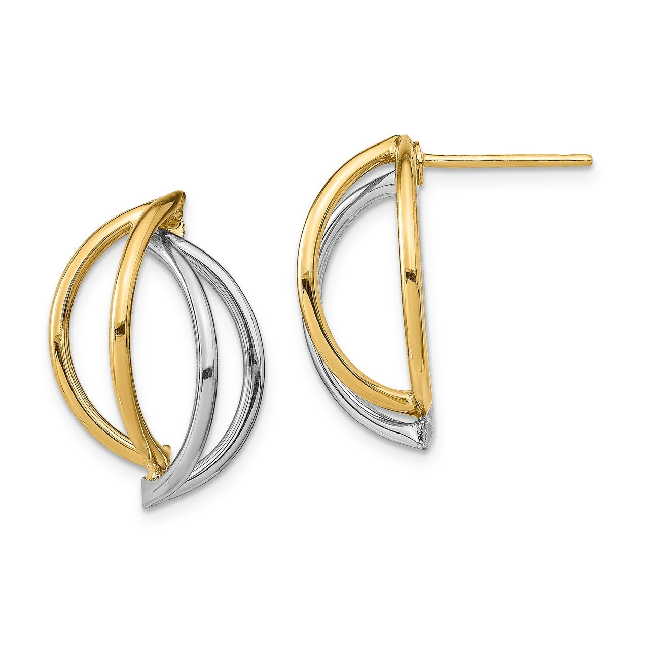 14k with White Rhodium Double Half Circle Wire Post Earrings