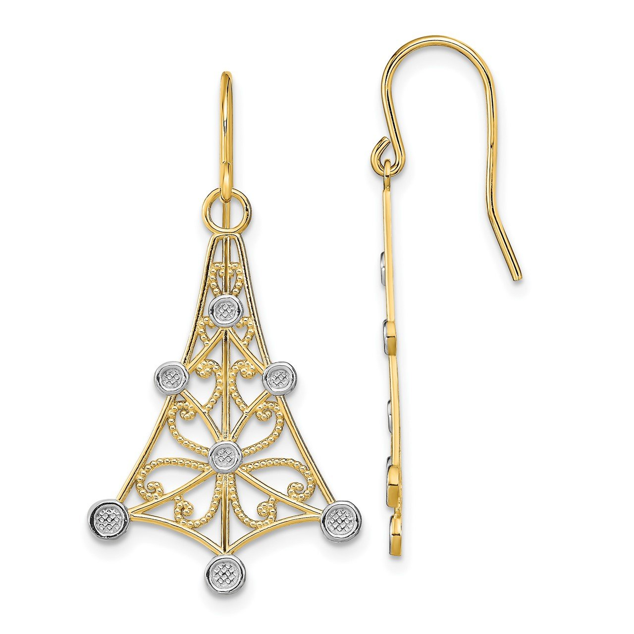 14K with Rhodium Fancy Dangle Wire Earrings