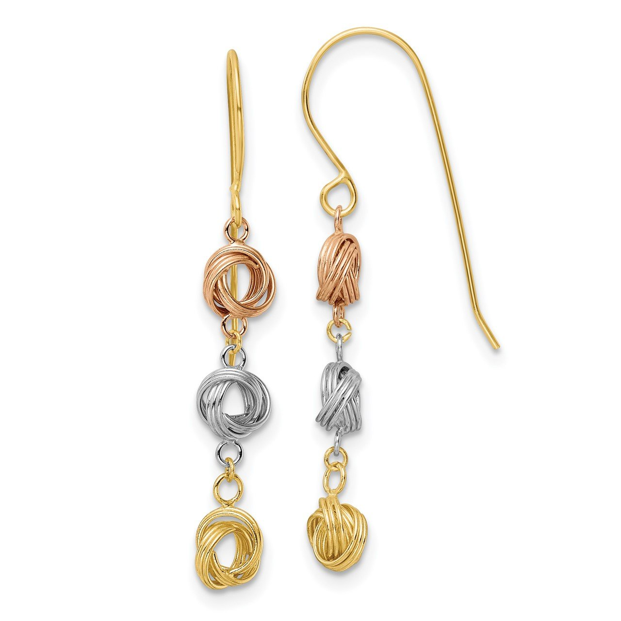 14K Tri-Color Love Knot Dangle Earrings