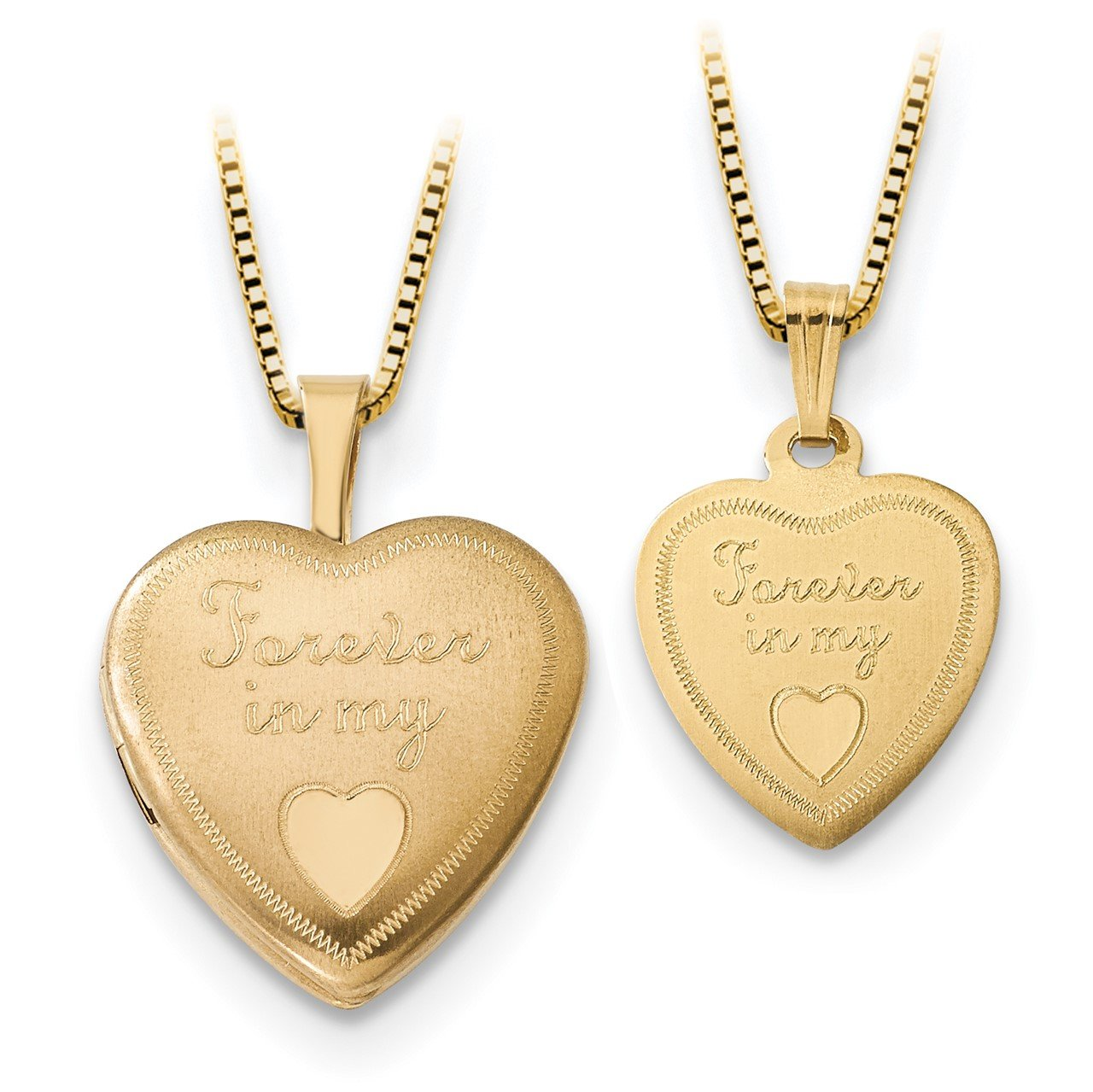 14K 16mm Forever in Heart Locket/Gold-plated Sterling 12mm Pendant
