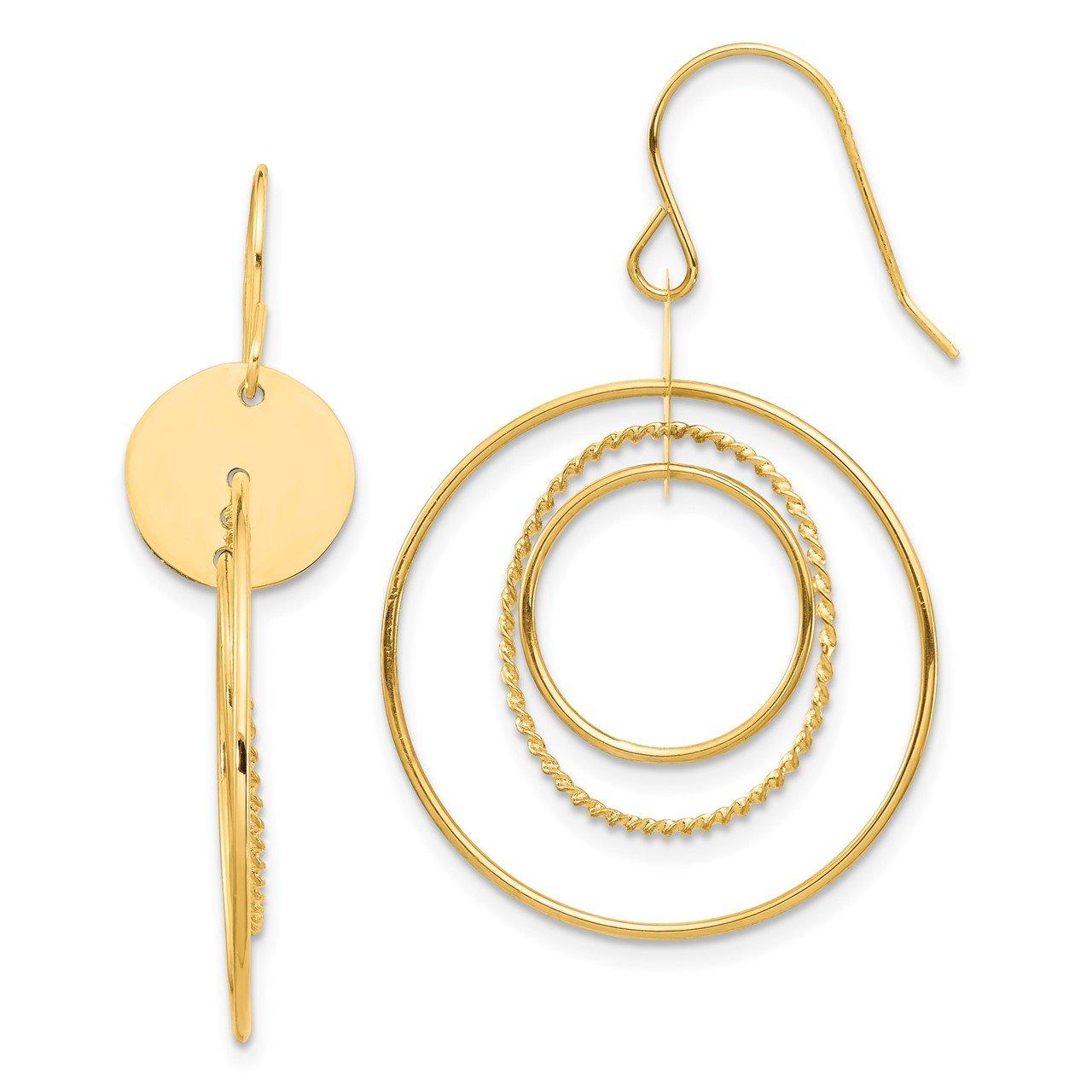 14K Circle Dangle Earrings