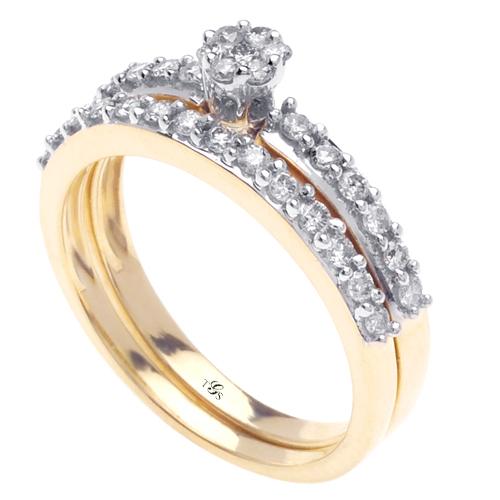 14K Yellow Gold Diamond Wedding Band Set