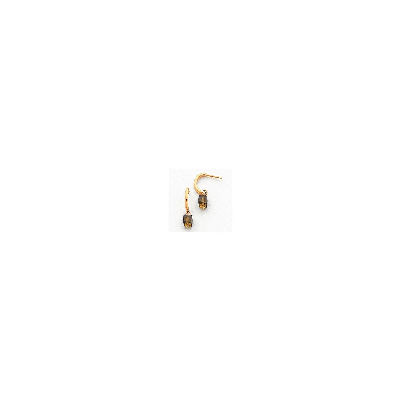 14k Green CZ Dangle Half Hoop Earrings