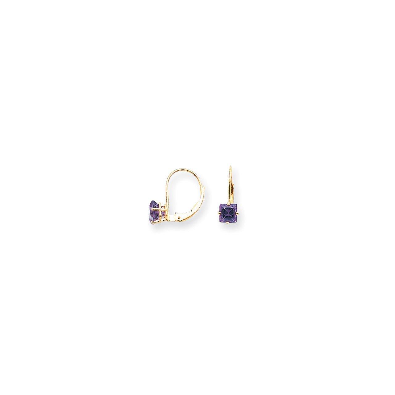 14k 5mm Princess Cut Amethyst Leverback Earrings