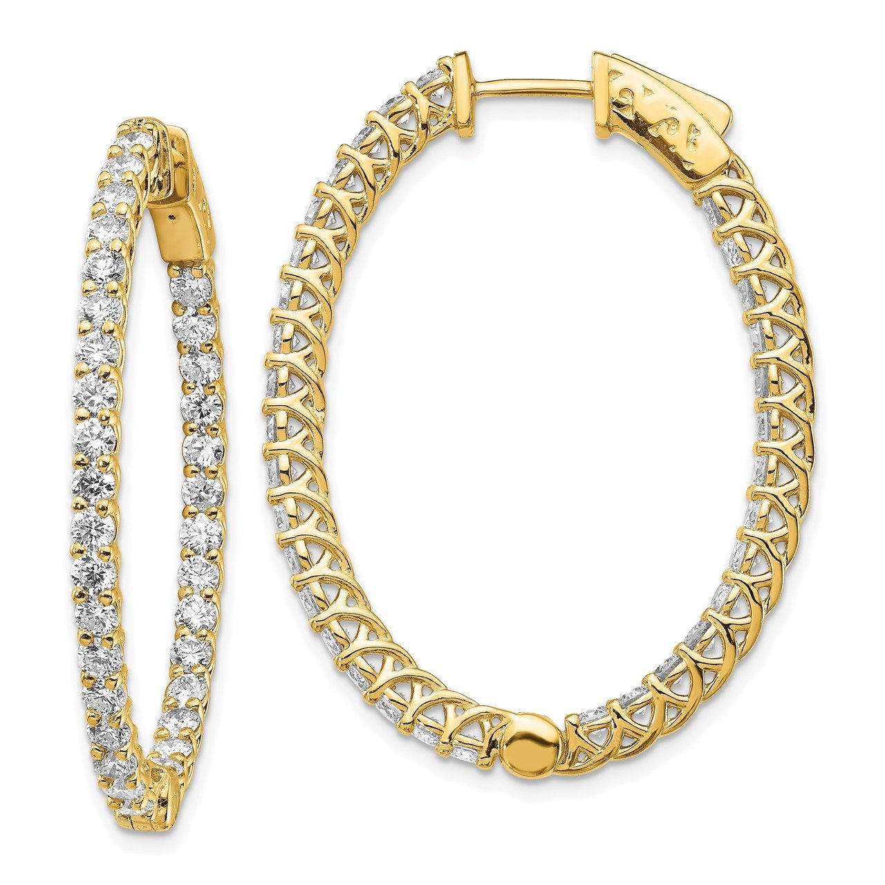 14k Diamond Oval Hoop with Safety Clasp Earrings